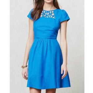 Anthropologie Maeve Aria blue cut out dress